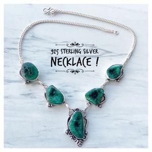 925 Sterling silver green solar quartz necklace